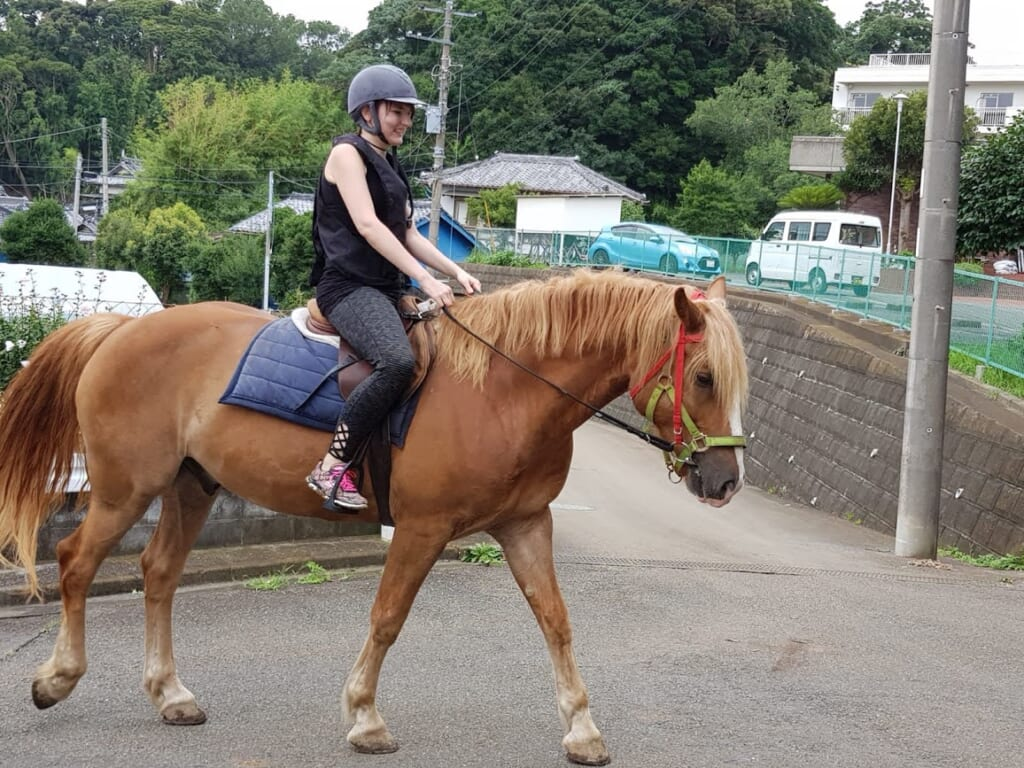 Reiten in der Nähe von Tokio auf der Horse Trekking Farm Miura Kaigan.