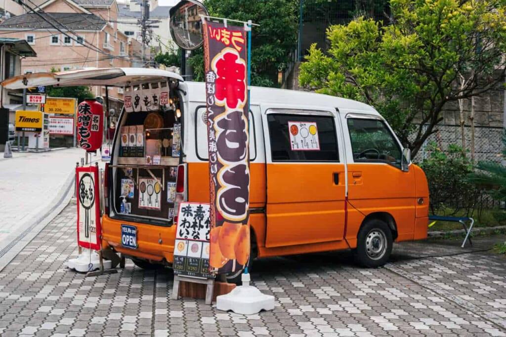 Ein Food Truck mit Mochi in Japan.