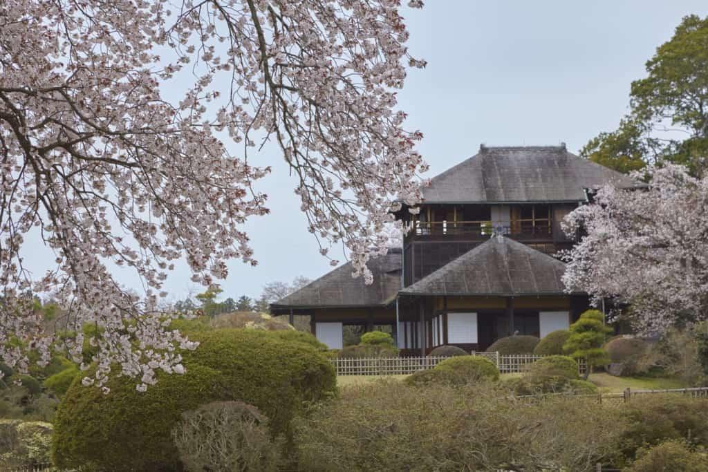 Das Kobuntei Haus im Kairaku Garten in der Präfektur Ibaraki.