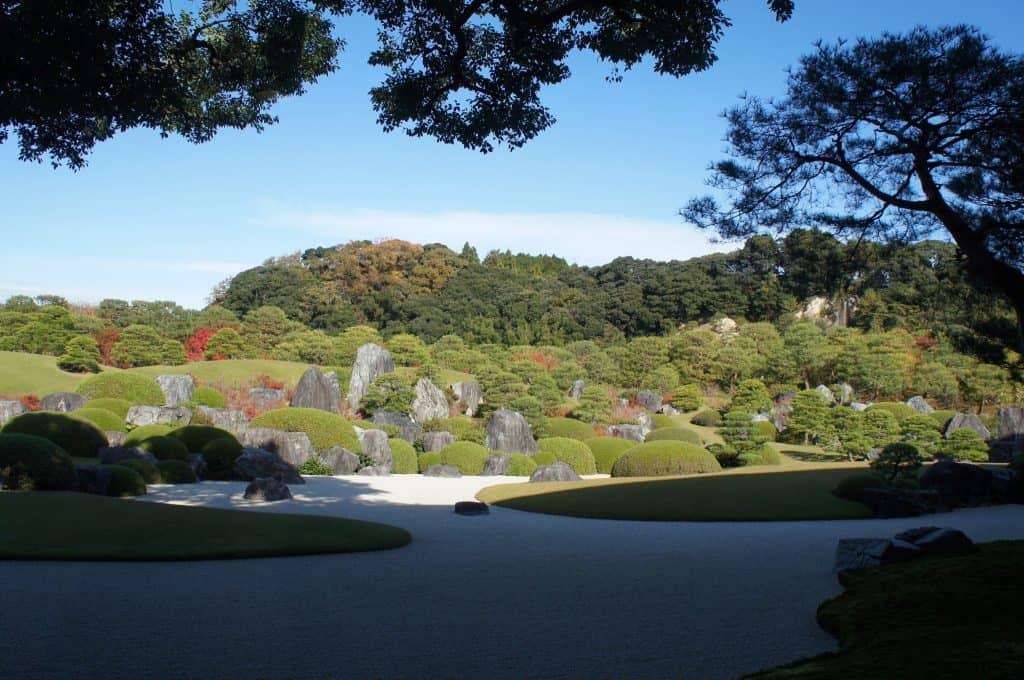 Der Garten im Adachi Kunstmuseum in der Präfektur Shimane.
