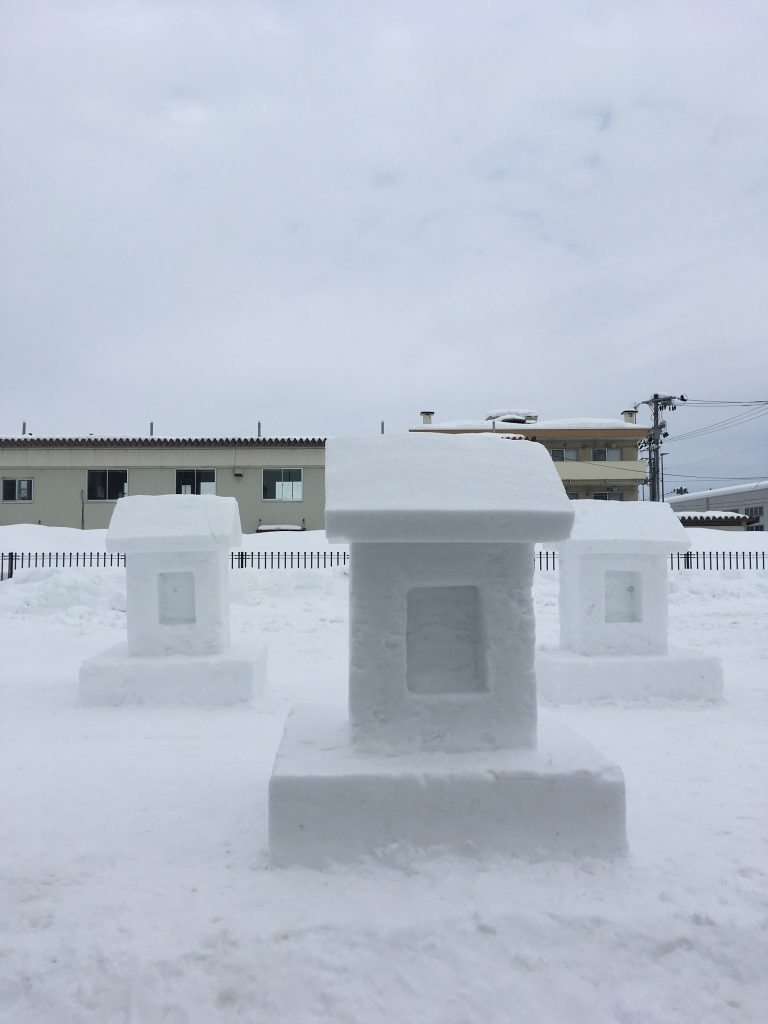 Schneeskulpturen in Yuzawa.