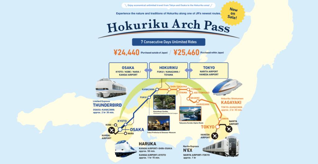 Eine Übersicht des Hokuriku Arch Pass.