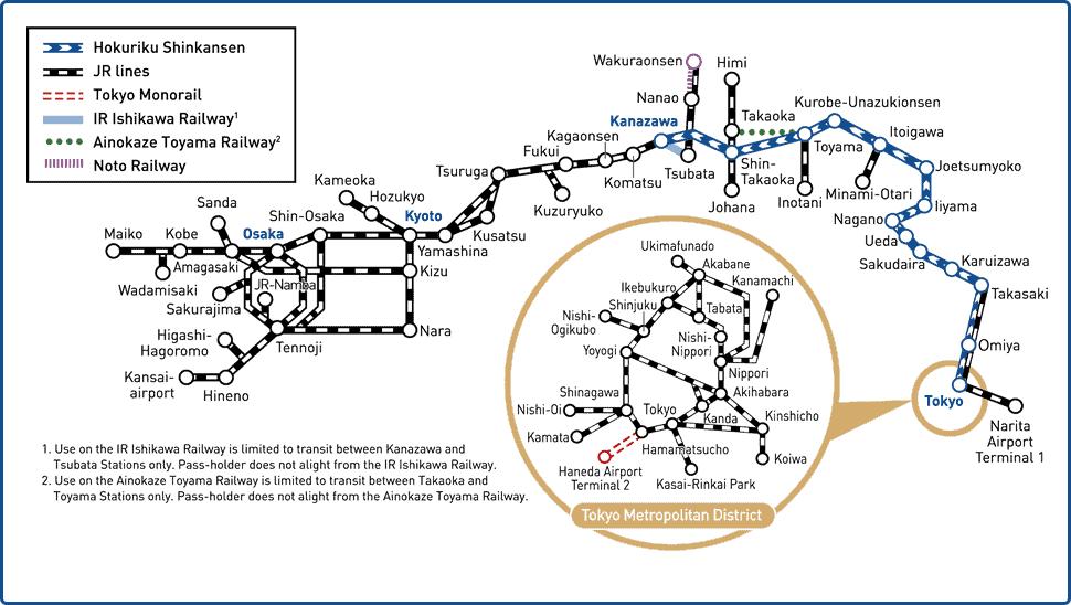 Das Liniennetz des Hokuriku Arch Pass.