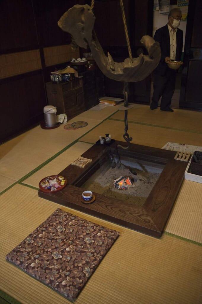 Feuerstelle im Shunran no Sato.