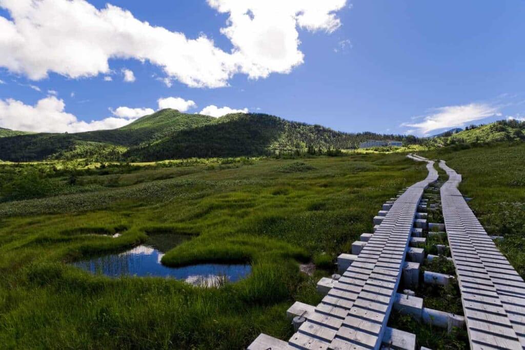 Die Landschaft in Midagahara, erreichbar mit dem Hokuriku Arch Pass.