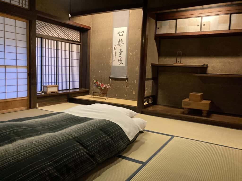 Tatami-Zimmer im Takyo-Abeke Gästehaus in der Präfektur Shimane.