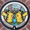 Pokémon-Gullydeckel mit Pikachu in Yokohama.