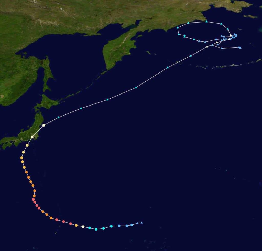 Taifune in Japan: Verlauf von Taifun Hagibis 2019.