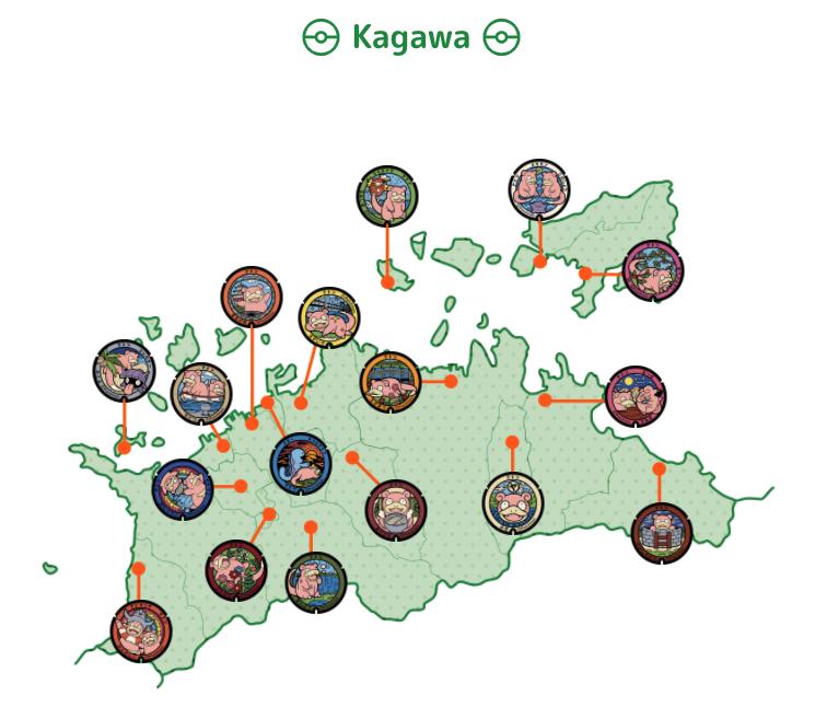 Karte mit Flegmon für die Präfektur Kagawa.