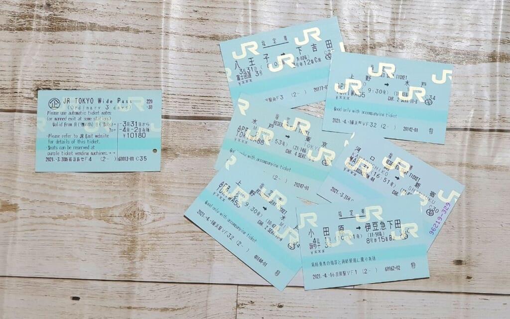 Tickets für die Sitzplatzreservierung mit dem JR Tokyo Wide Pass.