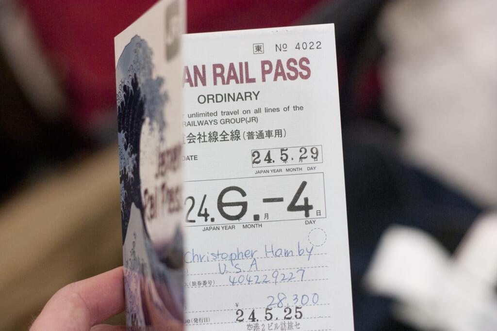 Nahaufnahme vom Japan Rail Pass.