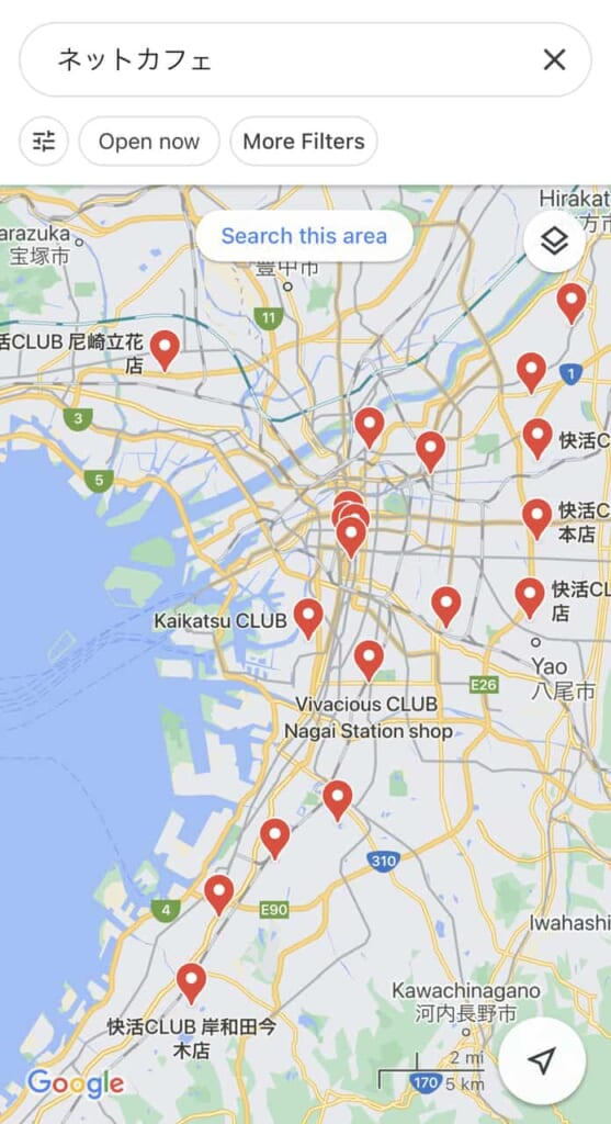 Übersichtskarte von Manga-Cafés in Osaka.