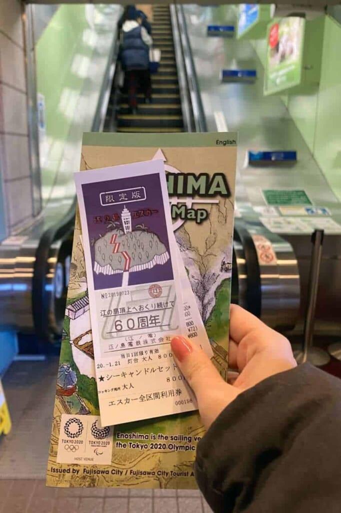 Biglietto e mappa dello One Day Pass di Enoshima