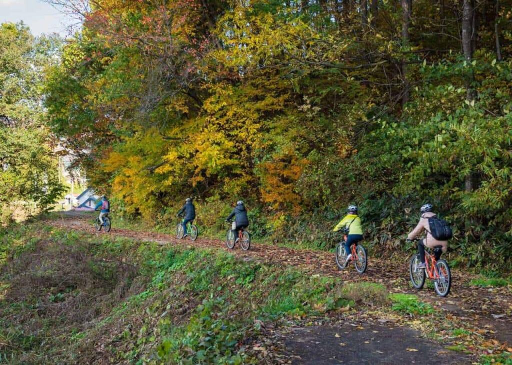 turisti in bicicletta nella campagna giapponese