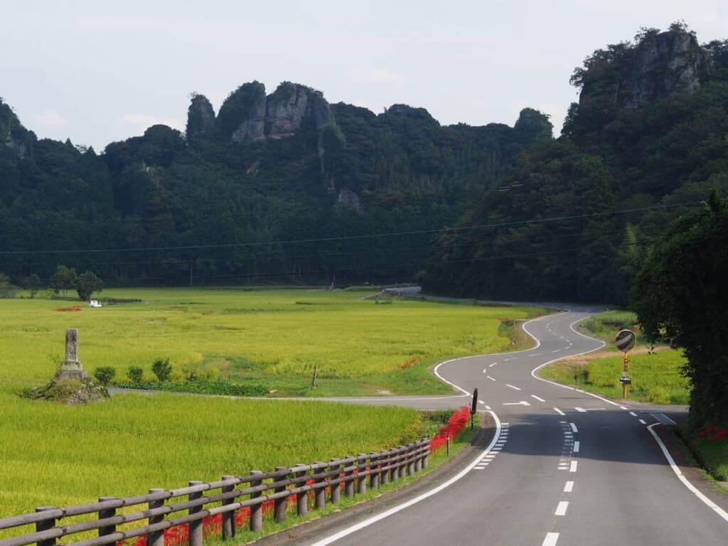 Strada di una zona rurale in Giappone