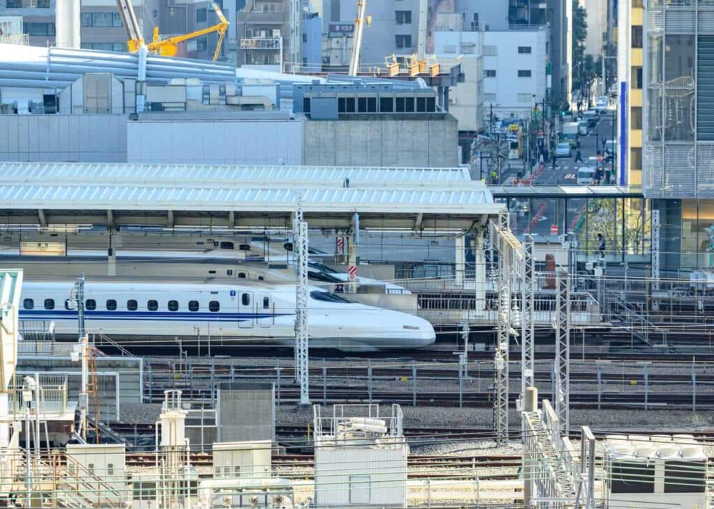 Treni proiettile Shinkansen nella Stazione di Tokyo