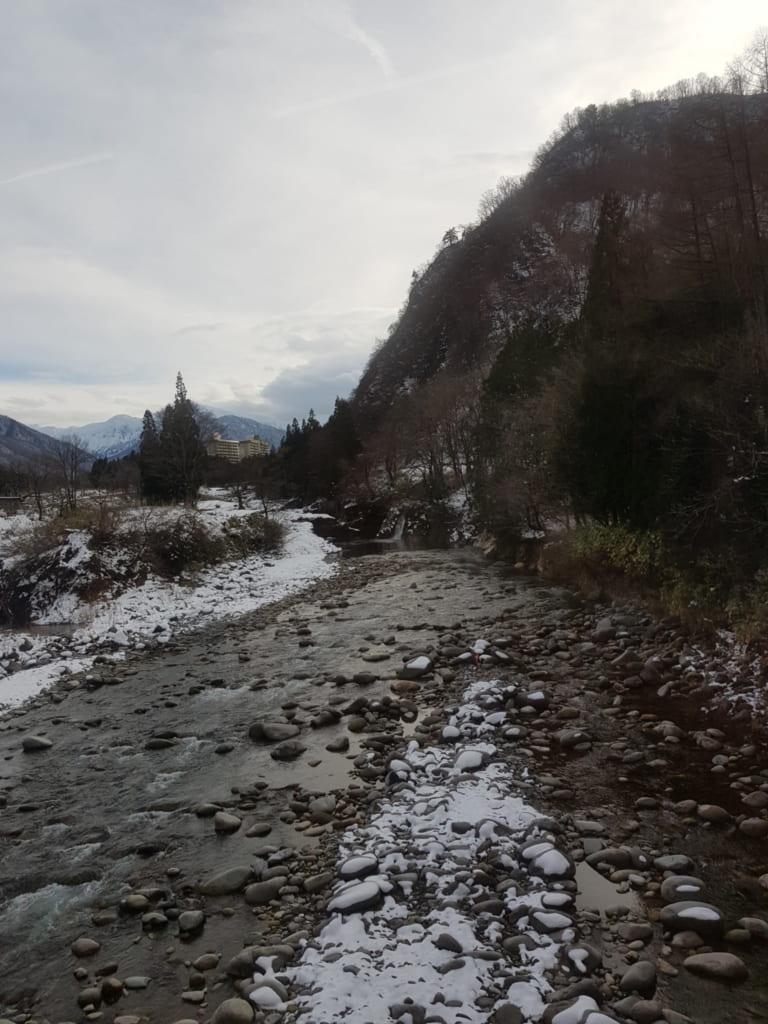 Fiume a Niigata in inverno