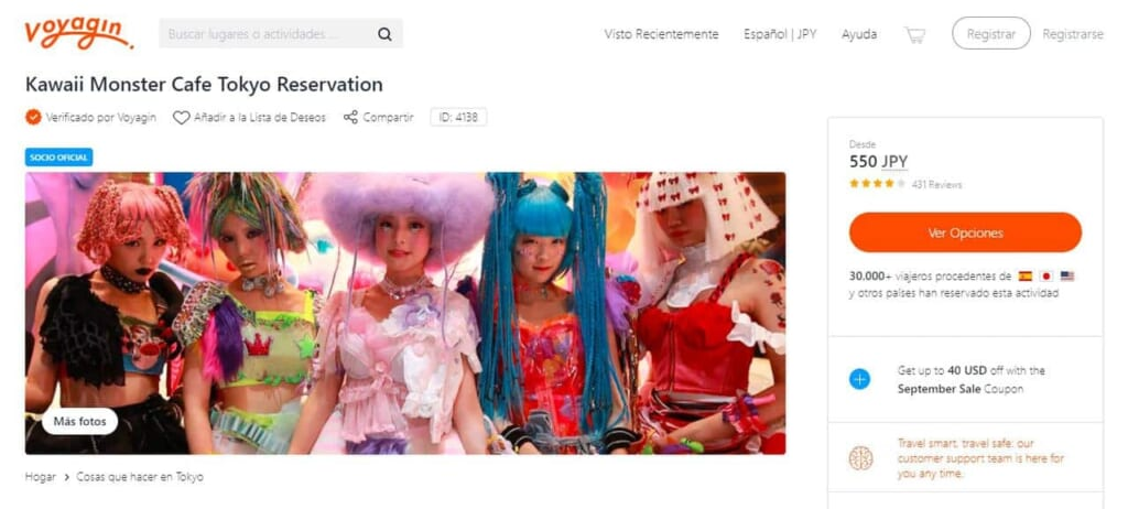 Pagina web del GoVoyagin sul Kawaii Monster Cafe di Harajuku