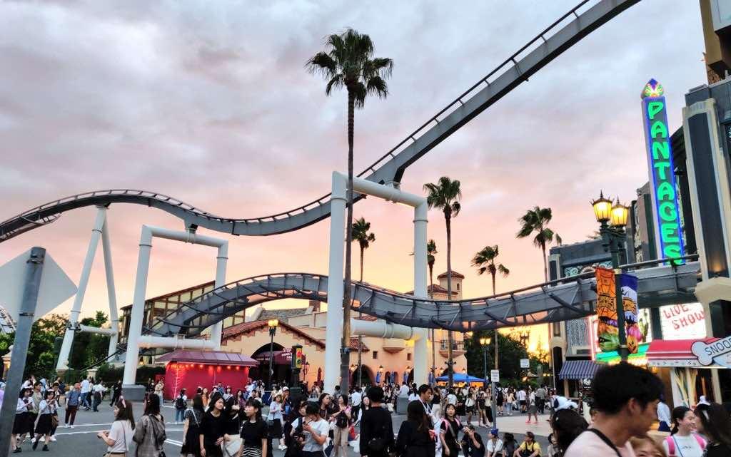 Gli Universal Studios Japan al tramonto