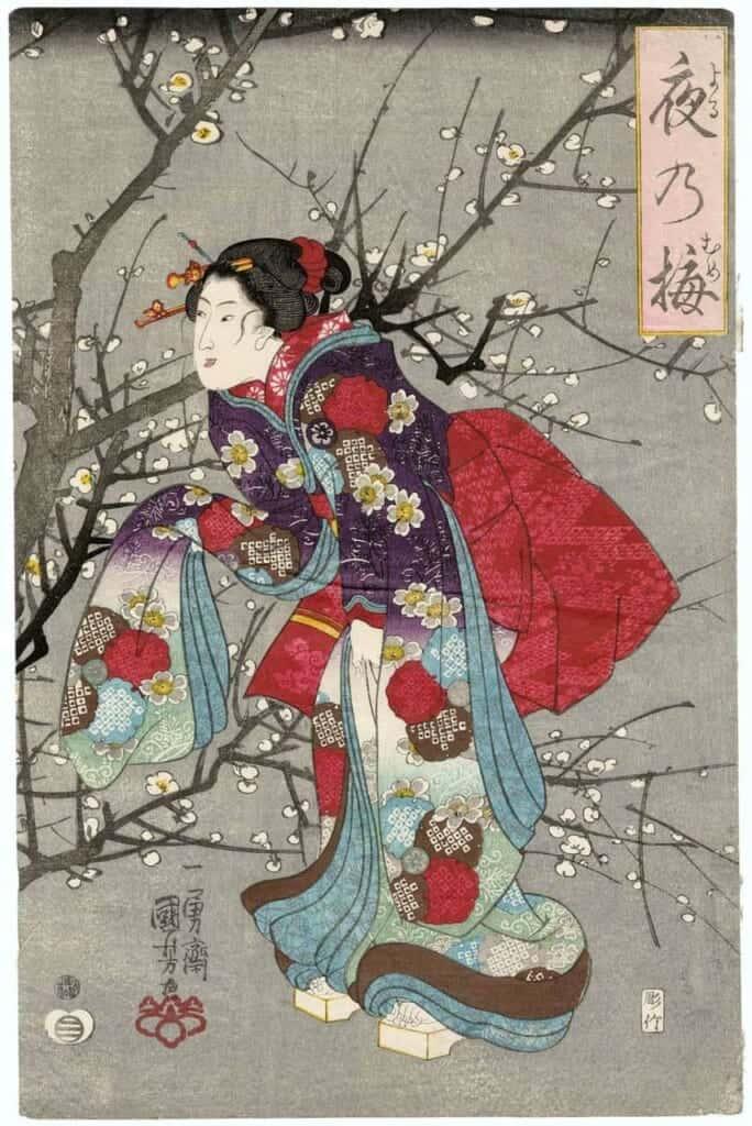 Stampa giapponese di donna in kimono che ammira i fiori di pruno