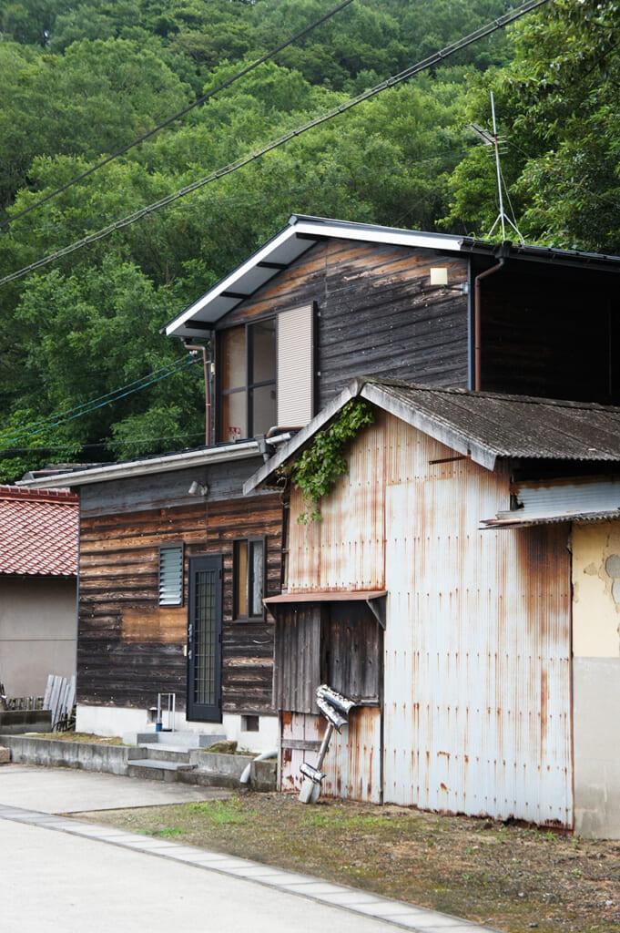 Delle vecchie case con della vegetazione sullo sfondo