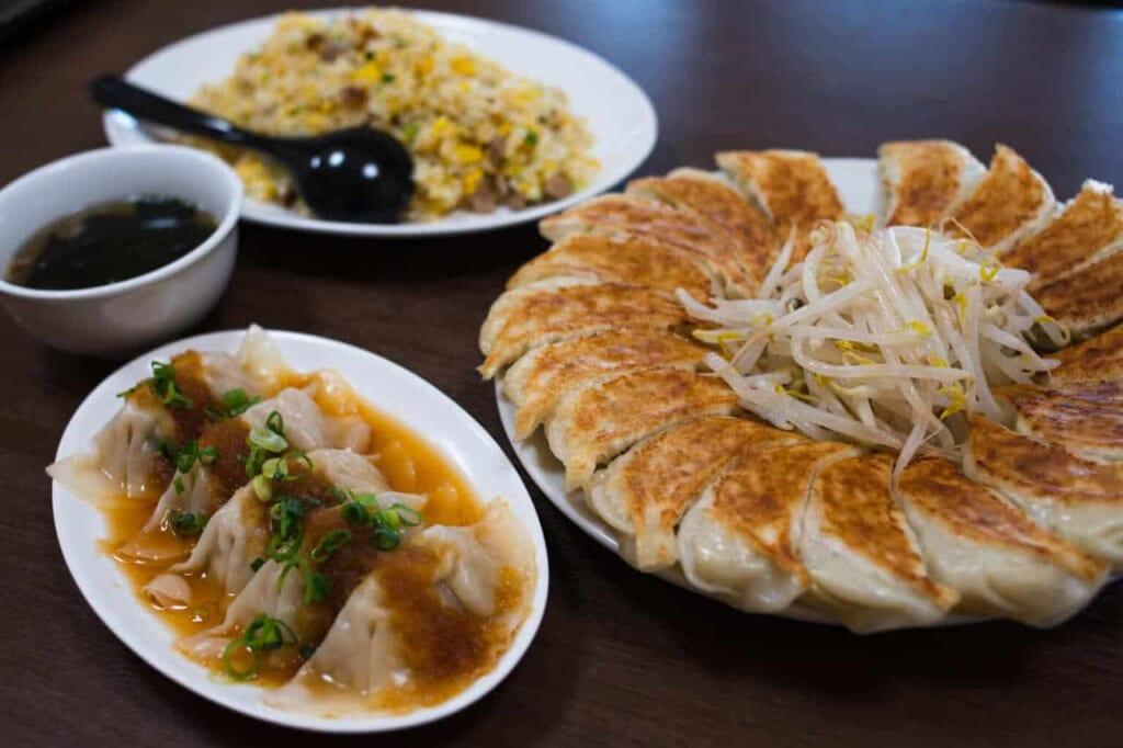 Piatti di gyoza, ravioli al vapore e riso saltato