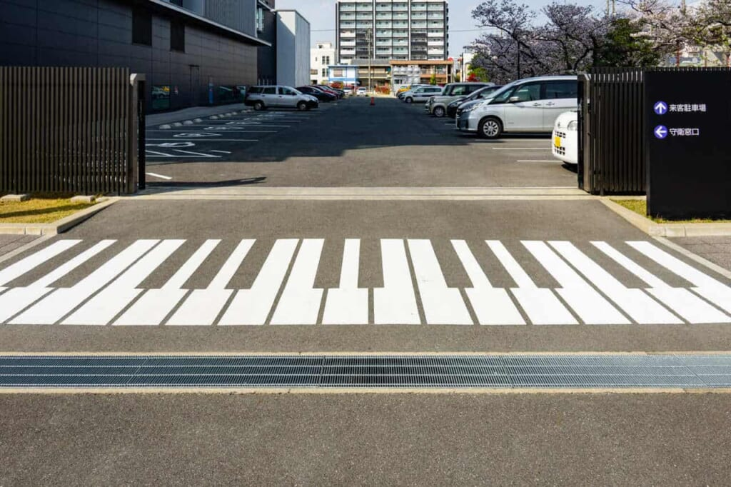 Parcheggio visitatori alla sede della Yamaha Corporation a Hamamatsu