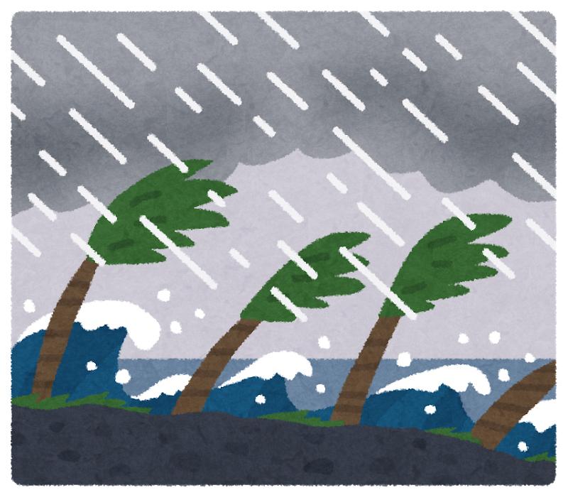 Illustrazione di palme scosse dal vento e dalla pioggia