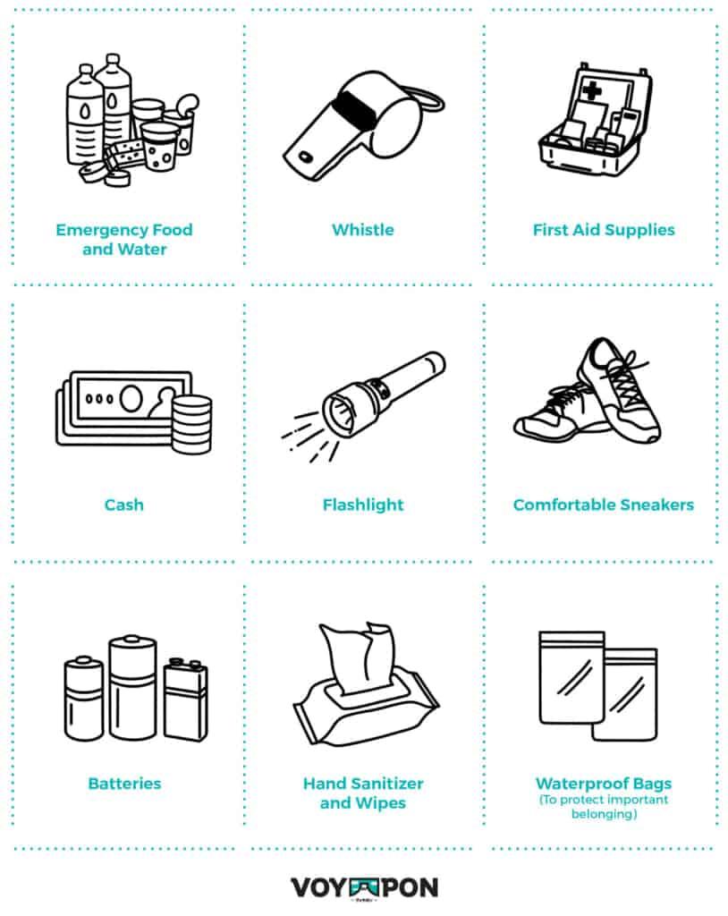 Illustrazione di alcuni articoli di emergenza da preparare in caso di tifone