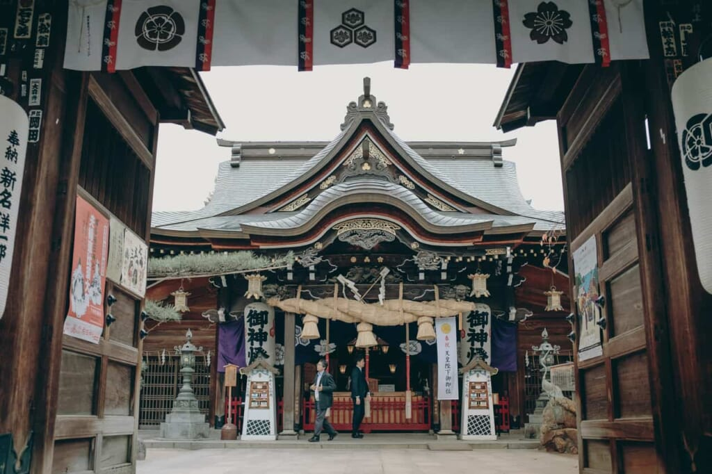 Haiden nel santuario di Kushida