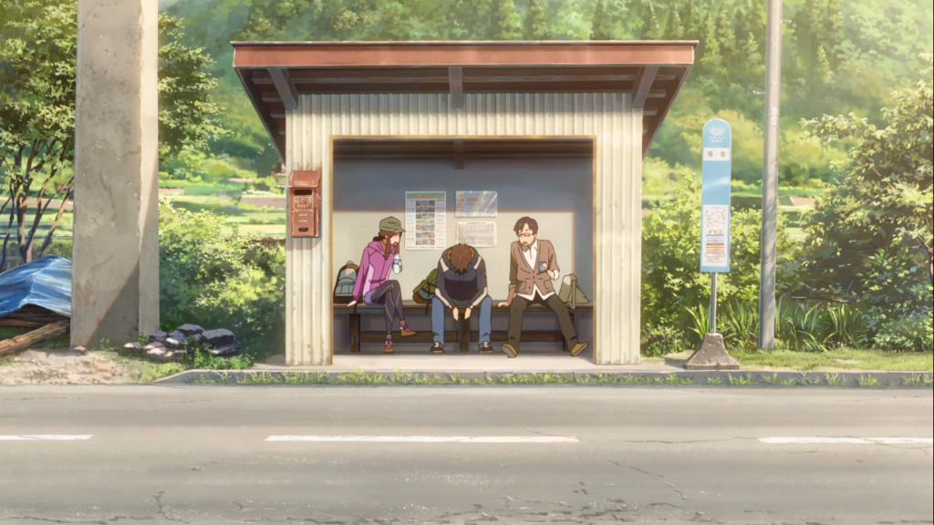 """Una scena alla fermata dell'autobus dal film di animazione """"Your Name"""""""